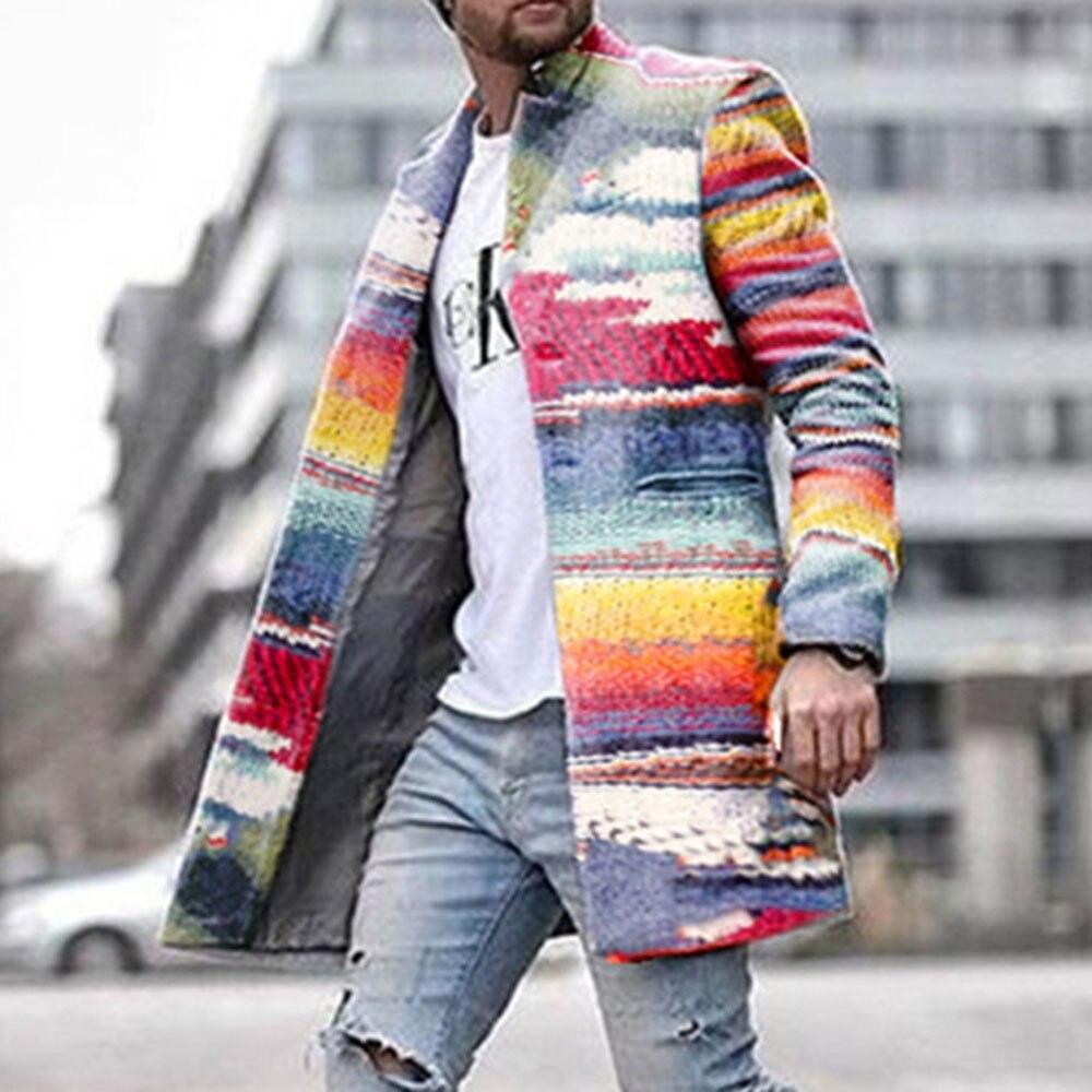 Men's Long Blazer Coats Office Overcoat 4XL Autumn And Winter Rainbow Print Long Warm Coat Men Plus Size Outwear Black Warm