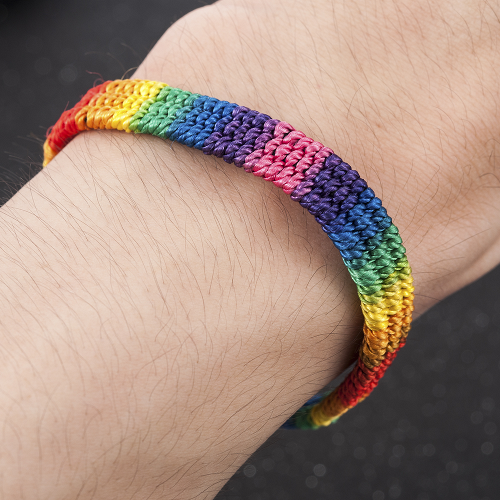 New Simple Power Gay Pride LGBT Rainbow Unisex Bracelet Jewellery Lesbian Bisexual Handmade Knot Trans Rope Chain for Men Women