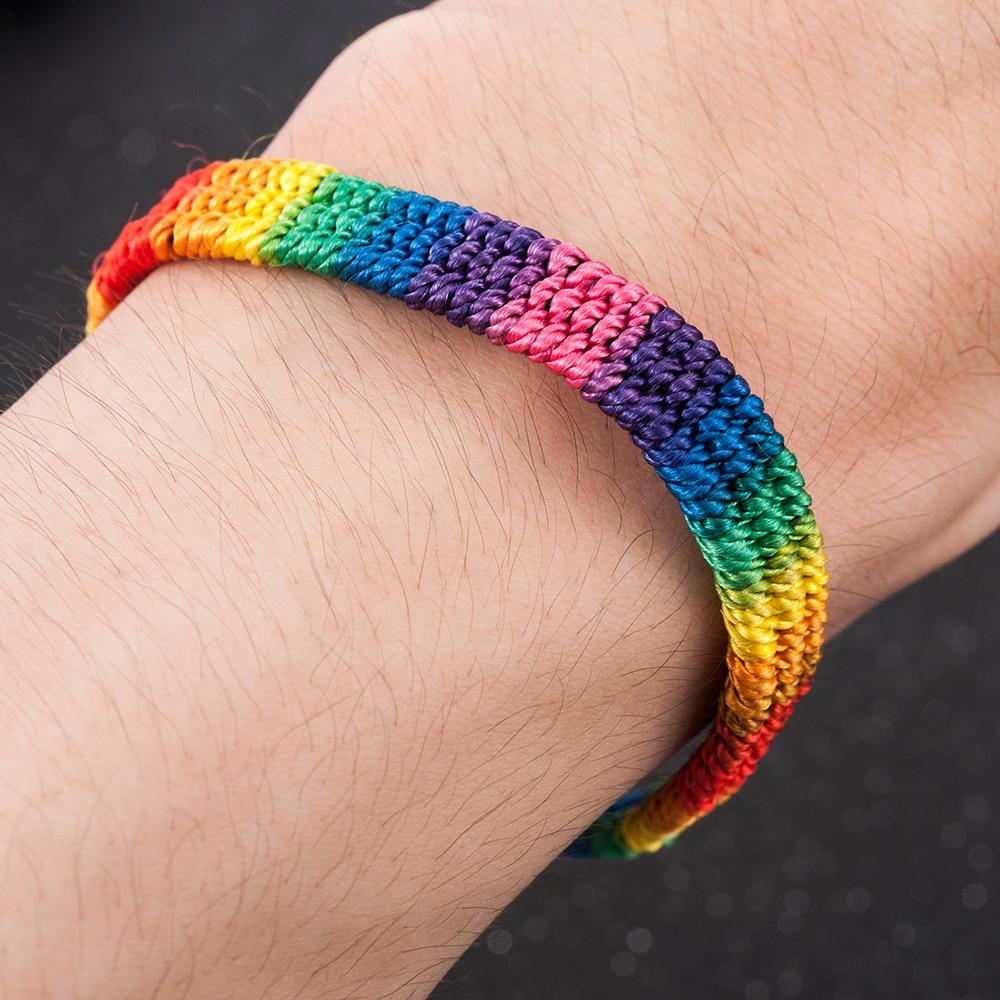 New Simple Power Gay Pride LGBT Rainbow Unisex Bracelet Jewellery Lesbian Bisexual Handmade Knot Trans Rope Chain for Men Women