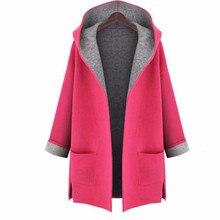 Wool Coat Women Casual Long Sleeve Autumn Winter Hooded Wool