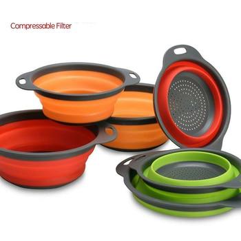Silicone Folding Drain Basket Kitchen Gadgets Storage Tools Creative Retractable Fruit Vegetable Colander Accessories