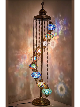 Multicolor Handmade turkish 9 ball mosaic floor lamp, turkish mosaic lamp, mosaic chandelier, mosaic wall lamp elada mosaic a917 327x327x4мм красная