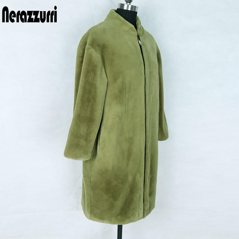 Nerazzurri Fluffy Faux Fur Cocoon Coat Women Drop Shoulder Zipper ArmyGreen Fake Fur Jacket Plus Size Oversized Winter Clothes