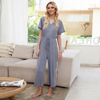 цена на Sexy Cut Out Back Bow Tie Knot Summer Jumpsuit for Women Cute Ladies Casual Solid Color High Waisted Jumpsuit Plus Size