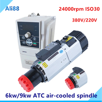 Automatic Tool Change Spindle 9kw ATC spindle ISO30 air cooled spindle motor 220v/380v with VFD Inverter for wood working router