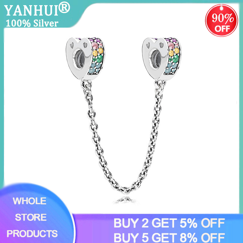 Hot Sale 925 Sterling Silver Fashion Colourful Crystal Heart Shape Safety Chain Charm Fit Original Women Bracelet DIY Jewelry