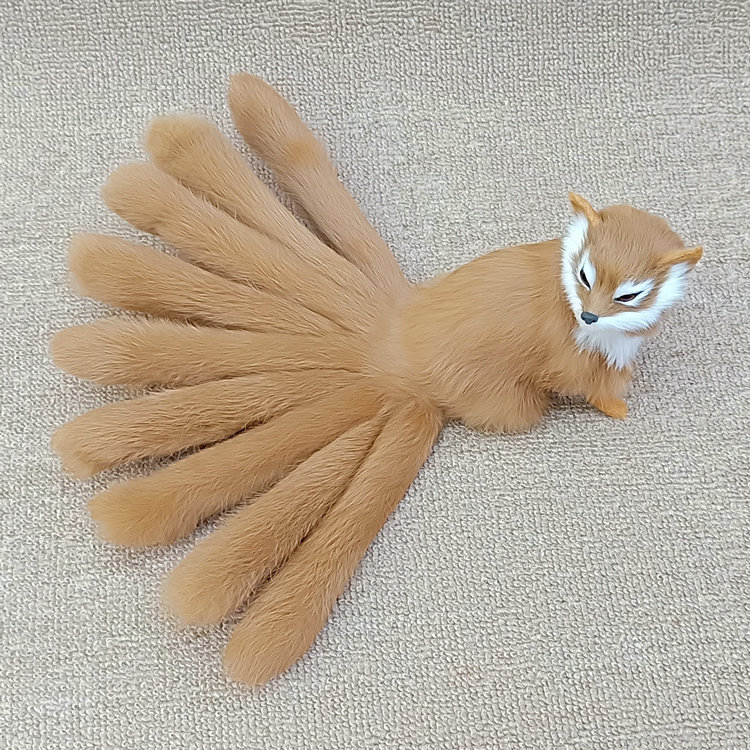 real life yellow squating fox model plastic&furs simulation nine-tails fox doll gift about 35x15cm xf2859