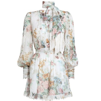 Chiffon Foral Short Belted Jumpsuits Lace Beach Style Loose Fashion Women Clothing Korean Playsuits  Fall 2020