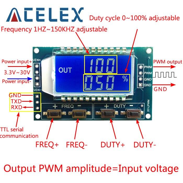 Signal Generator PWM Pulse Frequency Duty Cycle Adjustable Module LCD Display 1Hz-150Khz 3.3V-30V PWM Board Module(China)