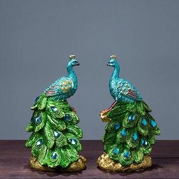 Mini figurita de pavo real de resina miniaturas decoración del hogar estatua de adorno boda cumpleaños regalo hogar arte artesanía izquierda derecha 9x9x15cm