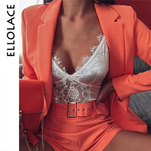 Ellolace 2 Two Piece Suit Women Long Sleeve Coat and Shorts Belt Sets Orange Matching Female Fashion Autumn 2019 New Outfit