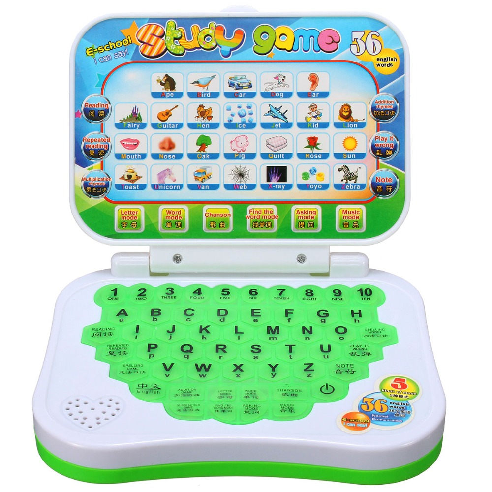Learning Machine Toy Computer Laptop Tablet Baby Children Educational Toys Electronic Notebook Kids Study Game Pad Music Phone image