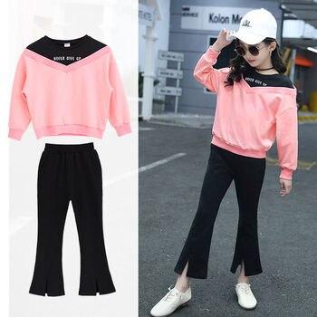 Girls Clothes Set Cotton Sweatshirt + Pants Two-Piece Casual Kids Children Clothing Suit 5 6 7 8 9 10 11 12 13 14 years
