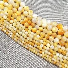 Модные бусины из натурального бисера круглые желтые для изготовления