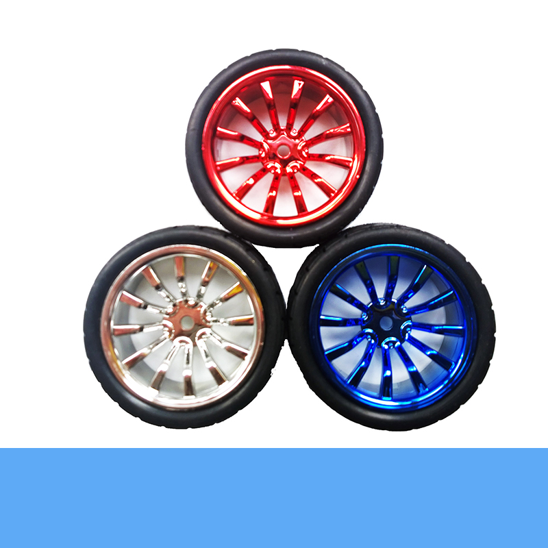 4pcs/Lot 65mm Rubber Tire 65mm Diameter, 27mm Width Silver/Red/Blue <font><b>Wheel</b></font> 4/5/<font><b>6mm</b></font> Metal Coupling RC Smart Car Chassis Part DIY image