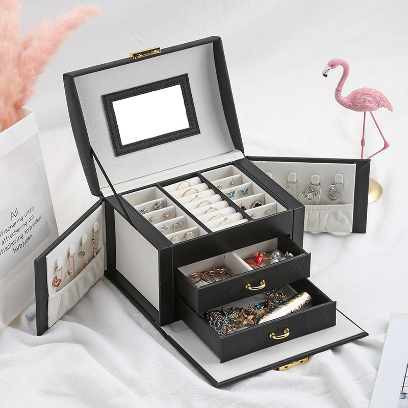 Casegrace 2019 Women Jewelry Storage Organizer Drawers Box Travel Makeup Cosmetic Case & Mirror Leather Wedding Decoration Gift