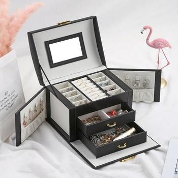 Women Jewelry Storage Organizer Drawers Box Travel Makeup Cosmetic Case