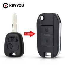 KEYYOU 수정 된 원격 자동차 키 쉘 포브 푸조 307 107 207 407 시트로엥 C2 C3 Xsara 2 버튼 키 케이스 HU83/VA2/NE73 블레이드
