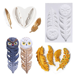 Feather Sugar Buttons Silicone Mold Fondant Cake Decorating Tools Chocolate Gumpaste Jewelry Handmade Epoxy UV Resin Mould M2759