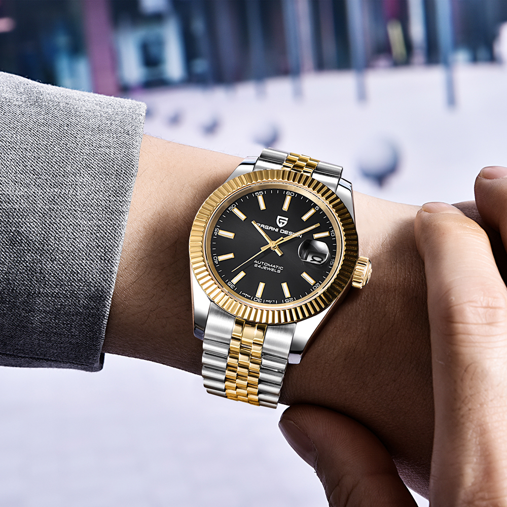 Pagani relógio mecânico masculino pulso automático retro relógios homem à prova dwaterproof água preto completo-aço relógio relógio montre homme newwatch