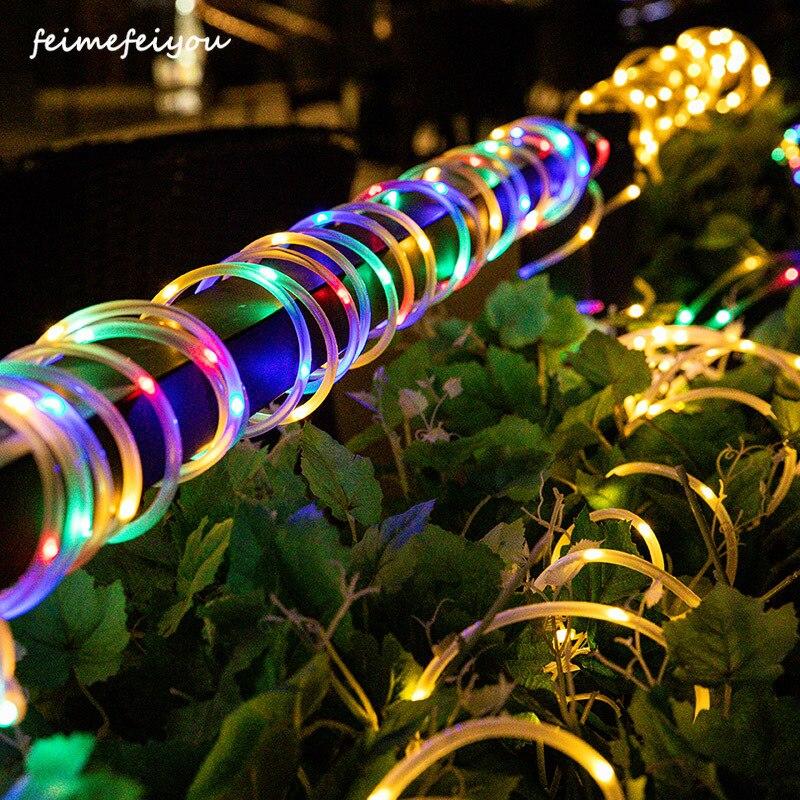 שמש מופעל מחרוזת אור רצועת חבל צינור פיות אורות עמיד למים עבור חיצוני גן חתונת מסיבת חג מולד חג המולד קישוט-במנורות סולריות מתוך פנסים ותאורה באתר Feimefeiyou Romantic Store