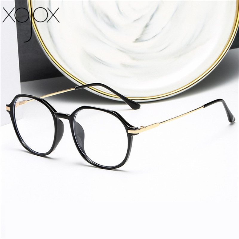 XojoX Retro Polygon Glasses Frame Women Anti-blue Light Myopia Frames Men Optical Computer Glasses Fashion Clear Spectacles
