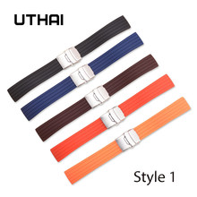 UTHAI P34 16mm 18mm20mm22mm24mm Watch Band Soft Silicone Sports Waterproof Watch Band(China)