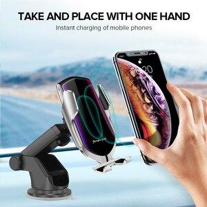 Image 2 - سيارة حامل هاتف التلقائي لقط 10W تشى اللاسلكية شاحن آيفون 11 برو XS XR X 8 سريع عمود شحن لسامسونج S10 s9