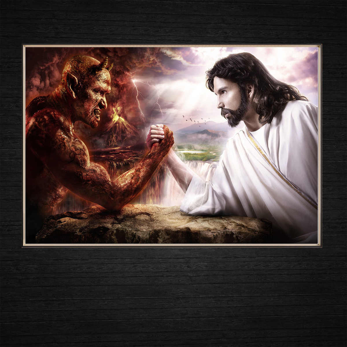 Jesus VS Satan Competition Between Angels and Devils Modern Wall Art Home Decor Canvas Paintings Oil Painting Kitchen Religious