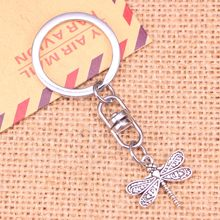 New Fashion Keychain 21x19mm dragonfly Pendants DIY Men Jewelry Car Key Chain Ring Holder Souvenir For Gift(China)