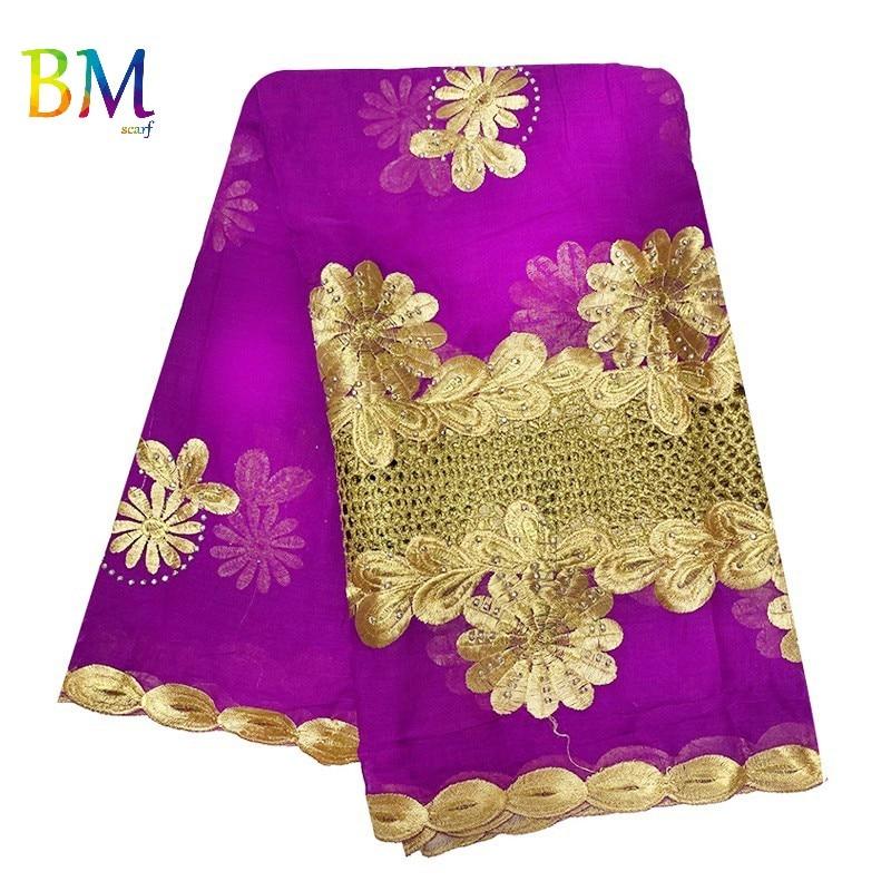 Latest African Women Scarf 100% Cotton Embroidery Scarf Muslim Splice  Hijab Scarf For Muslim Women  BK16