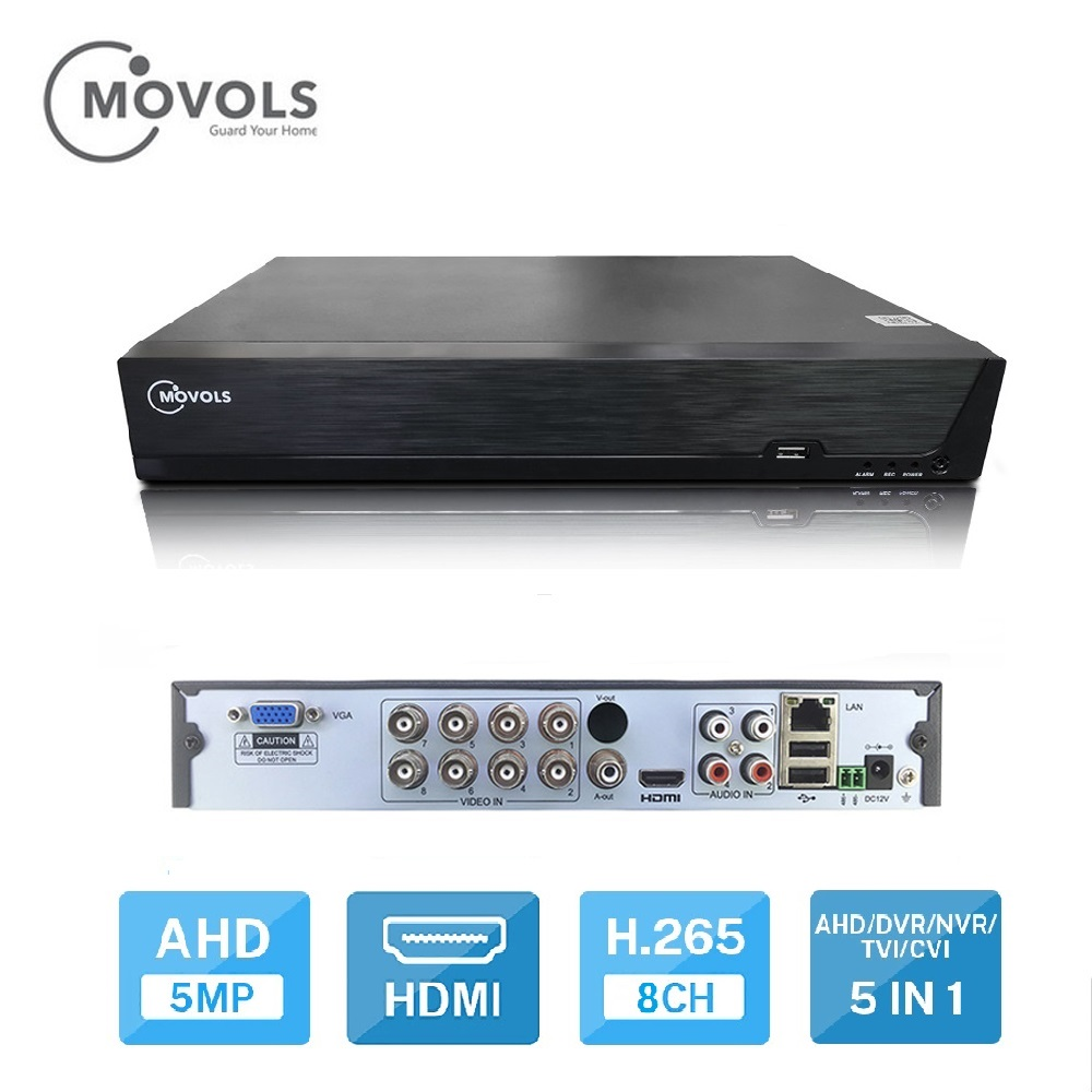 Movols 8CH 5MP H.265 AHD 5 IN1 DVR Digital Video Recorder for CCTV HDMI Video Output Support Analog AHD Camera image