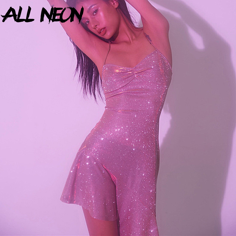 ALLNeon Glitter Dresses for Women Straped Criss Cross Bandage Backless Mermaid Dresses Club Wear Evening Party Sequins Dresses