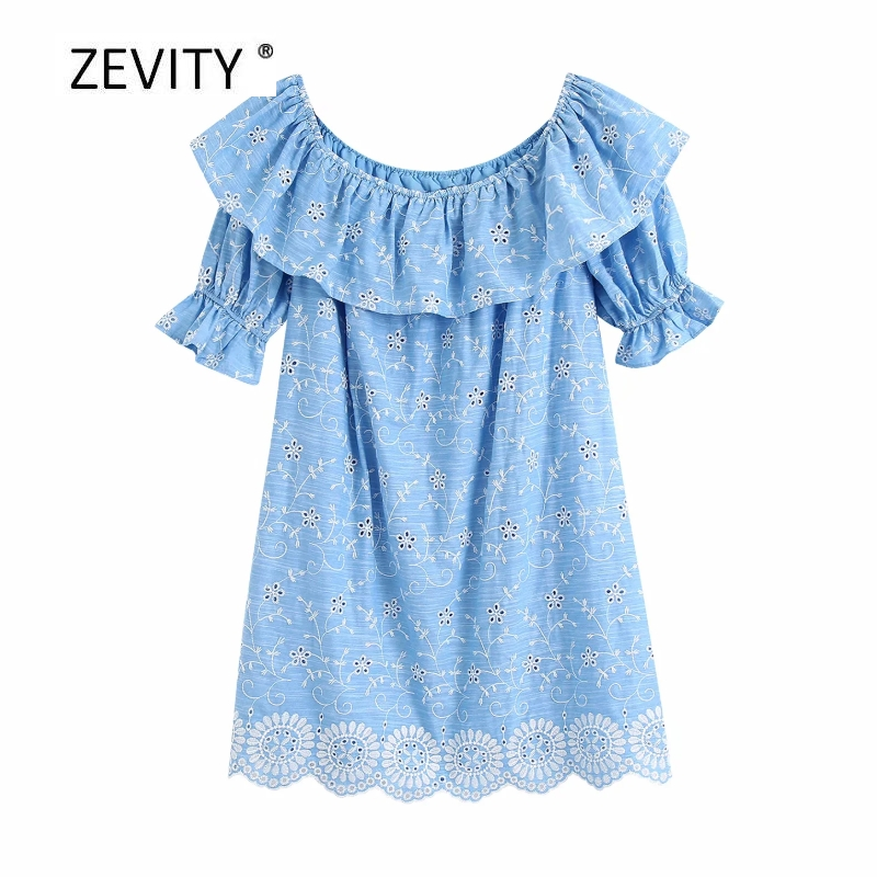Zevity Women sexy slash neck hollow out embroidery ruffles mini dress Ladies short sleeve pantskirts Chic casual Dresses DS4031