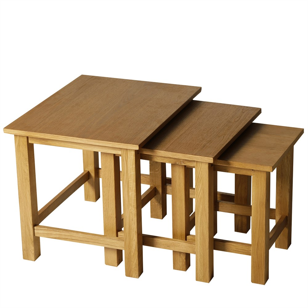 HOMCOM Set 3 Interlocking Stacking Tables Coffee Lounge Living Room Wood