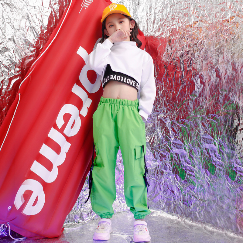 2019 New  Children Jazz Dance Costume For Girls Hip Hop Street Dancing Costumes Crop Top Pants Kids Performance Dance Clothes