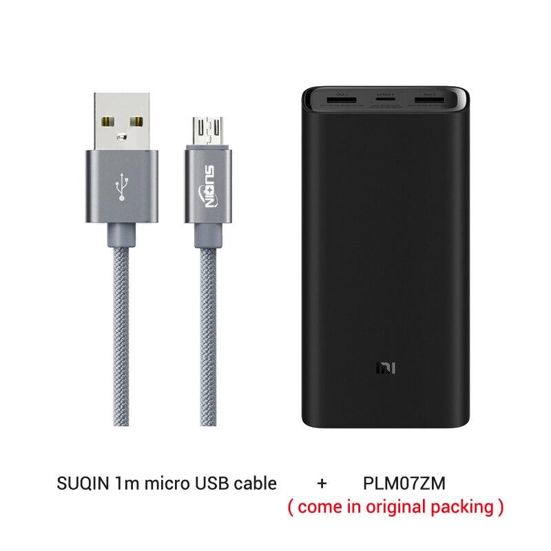 Из России- 20000 мАч Xiaomi Power Bank 3 Mi Power Bank Pro PLM07ZM с тройным выходом USB USB-C 45 Вт Двусторонняя Быстрая зарядка - Цвет: and microUSB cable