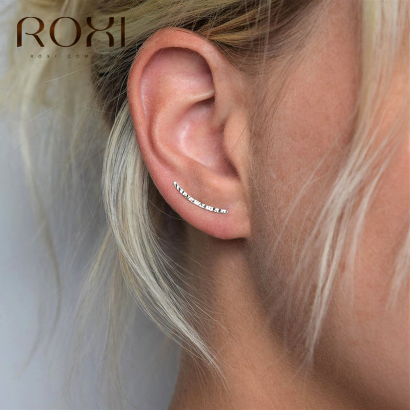 ROXI Minimalist 925 Sterling Silver Earrings Ear Crawlers Wedding Jewelry Trendy Geometric Ear Crawlers Stud Earring Women Gift