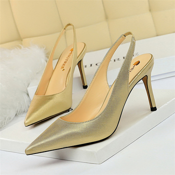2020 Summer Women 8cm Thin High Heel Slingback Sandals Closed Toe Blue Gold Silver White Heels Sandals Office Lady Wedding Shoes