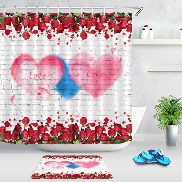 Rideaux de douche muraux en forme de cœur | Fleur rouge Rose blanche en brique, rideau de salle de bains lavable, tissu Polyester pour décor de baignoire