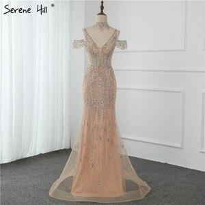 Image 4 - שלווה היל דובאי שמפניה V צוואר פניני יהלומי שמלת ערב 2020 האחרון עיצוב שרוולים בת ים סקסי המפלגה שמלת CLA70055