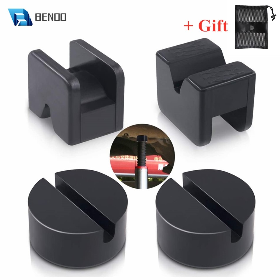 BENOO 4 Pack 2 Types Heavy Duty Rubber Jack Pad Adapter for Jack Stand 2-4 ton Universal Black Welds Protector for Lifting Car