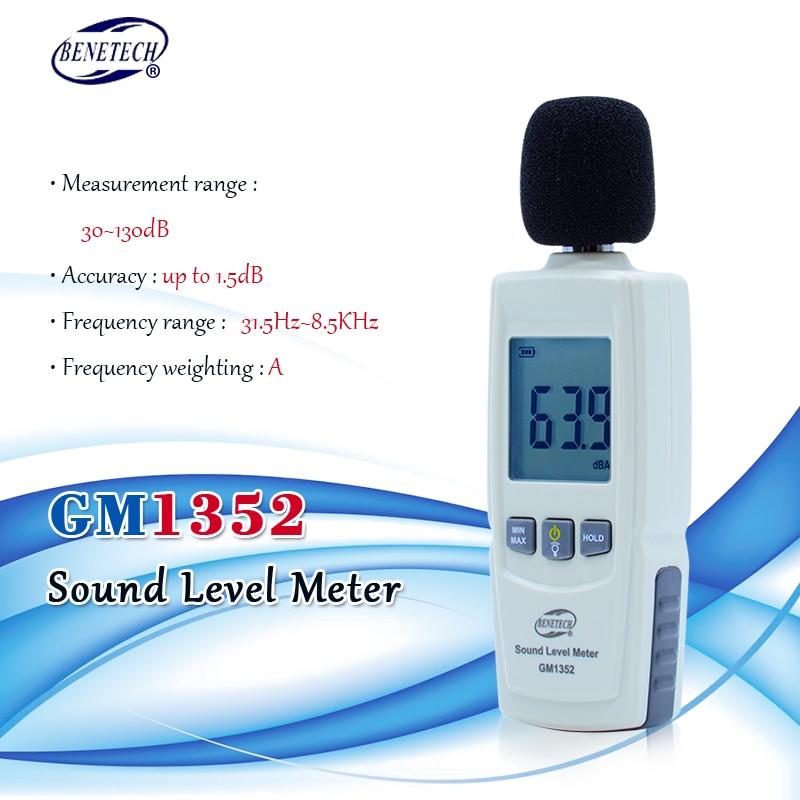 Цифровой измеритель уровня звука, тестер шума дБ, децибел-метр в децибелах, детектор шума и аудио, автоматический микрофон GM1352, 30-130 дБ