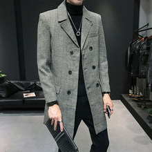 Abrigo Hombre Trench Coat Long Double Breasted Casual Slim Fit Jacket Men Mantea