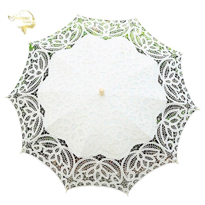 Fashion White Beige Lace Sun Umbrella Parasol Cotton Embroidery Lace Umbrella Prom Wedding Umbrella For Bride Mariage Decoration