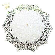 Fashion White Beige Lace Sun Umbrella Parasol Cotton Embroidery Prom Wedding For Bride Mariage Decoration