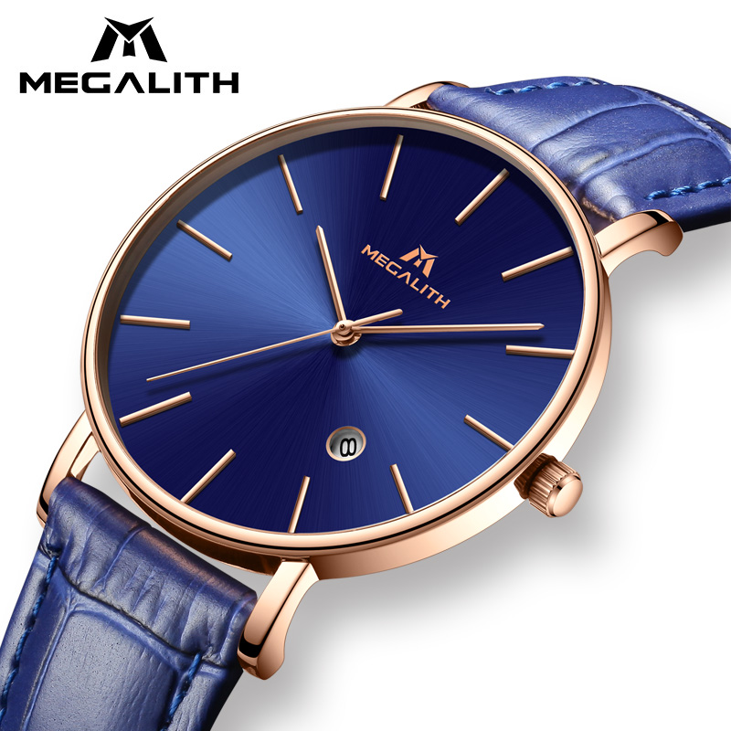 MEGALITH Sport Waterproof Wrist Watch Mens Watch Top Luxury Brand Chronograph Quartz Military Genuine Leather Relogio Masculino