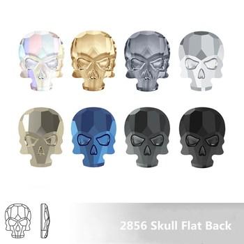 100% oryginalne kryształy z Swarovsky 2856 czaszka płaski powrót 14x10.5mm nie poprawka rhinestone dla kobiet ustalenia nail art