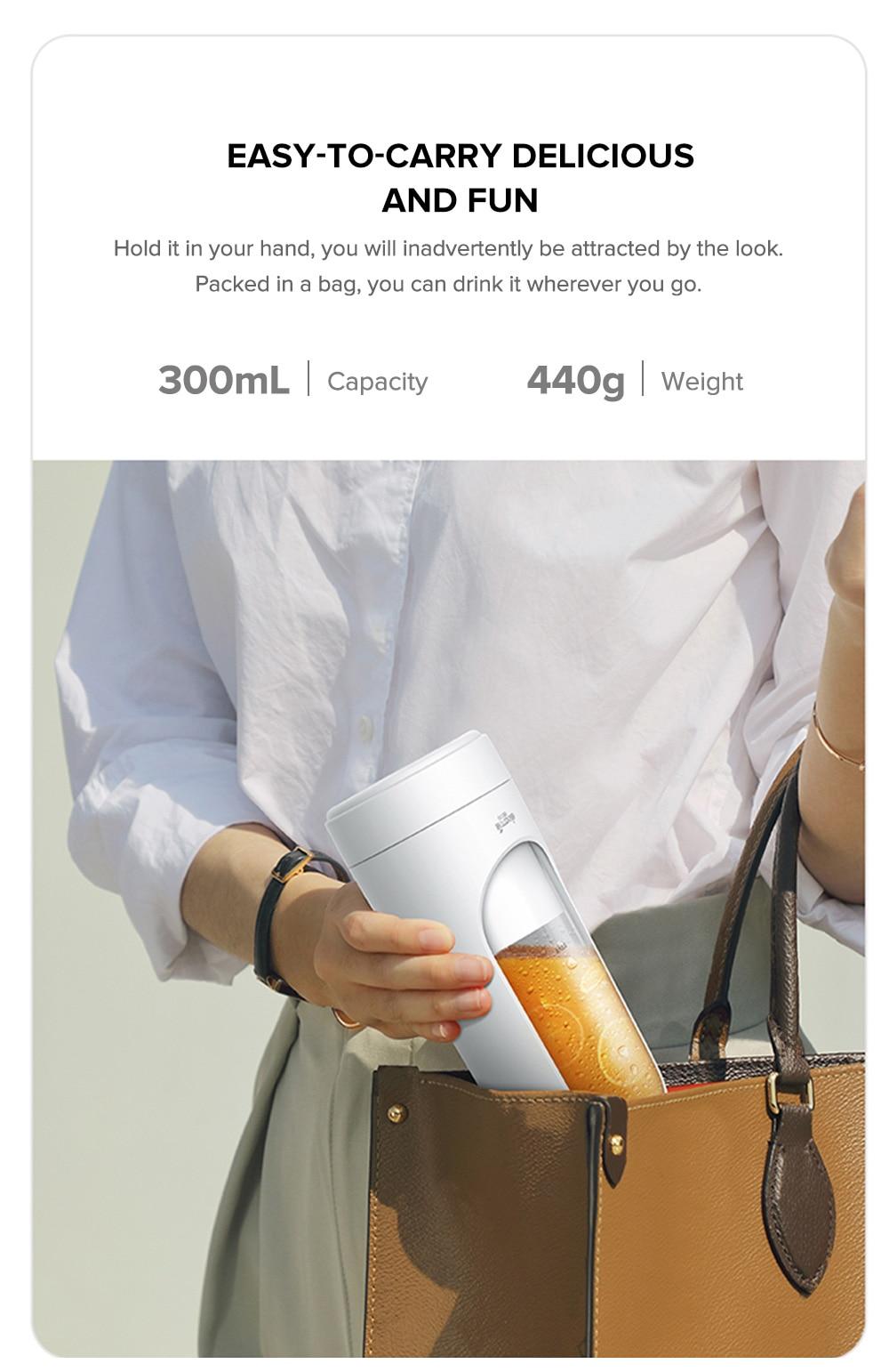 Deerma DEM - NU30 Portable Fruit Juicer USB Rechargeable Mini Wireless DIY Milkshake Vegetable Blender 300ml Water Cup