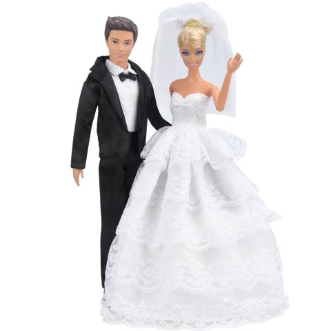 Saleaman Wedding Dress Beautiful Gown Bride Dress Clothes with Veil and Groom Formal Outfit Business Suit for baby Ken Dolls Pakistan